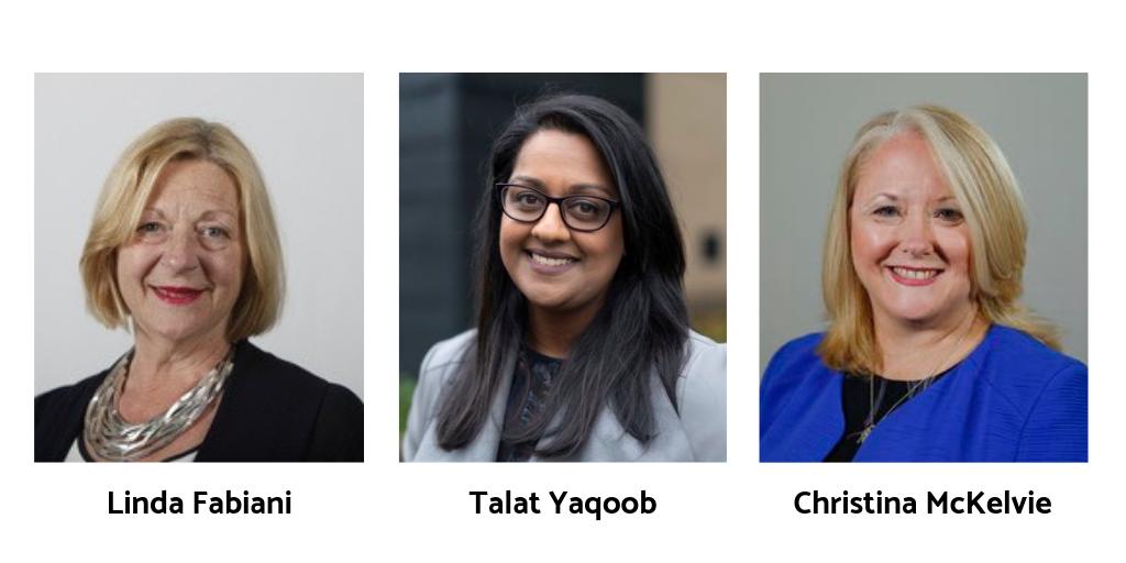 Portrait images of Linda Fabiani, Talat Yaqoob, and Christina McKelvie