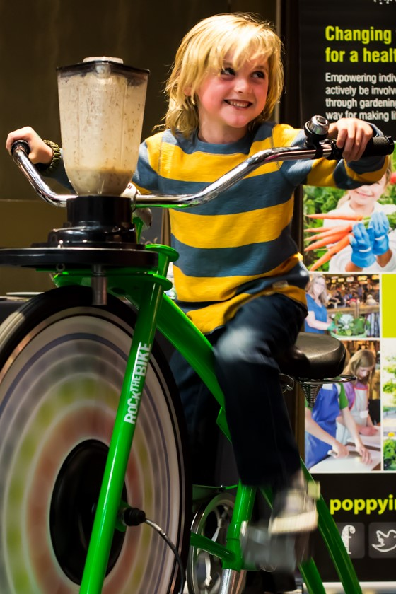 Poppy Innovations bike blender at REAP's 2015 Food For Thought