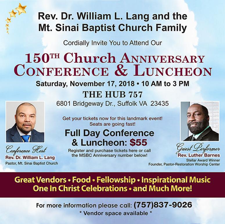Mt Sinai Baptist 150 year Anniversary Information
