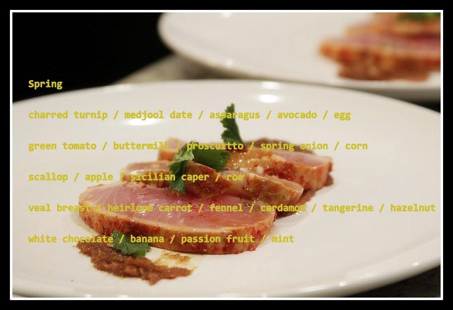 Mullen & Smith April Chefs' Table Menu