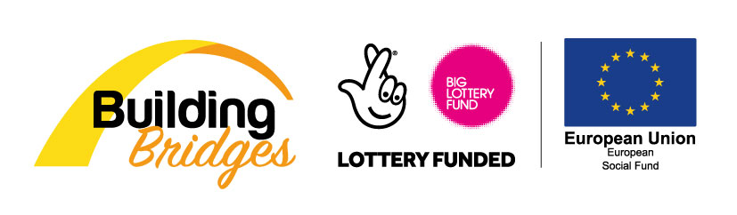 Building Bridges logo with Lottery funded logo and European Social Fund logo