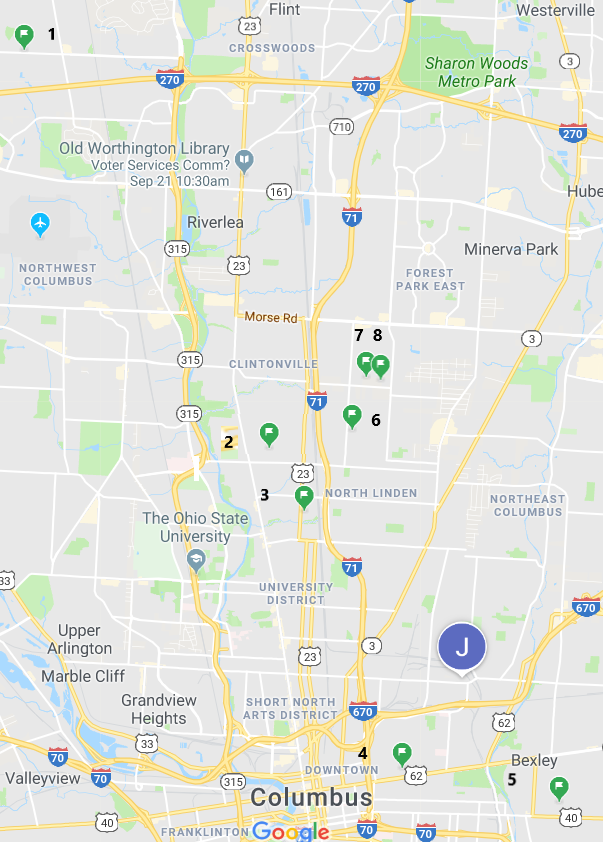 Map locations correspond to numbers after each tour site description.