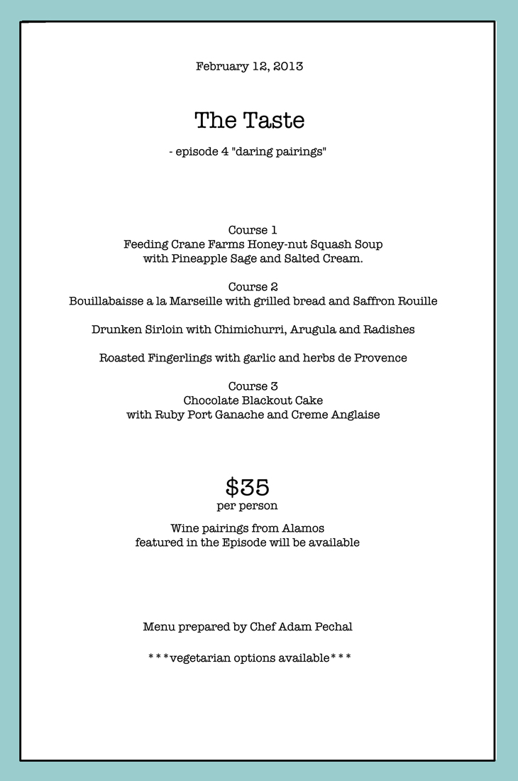 The Menu for Feb. 12th, Daring Parings