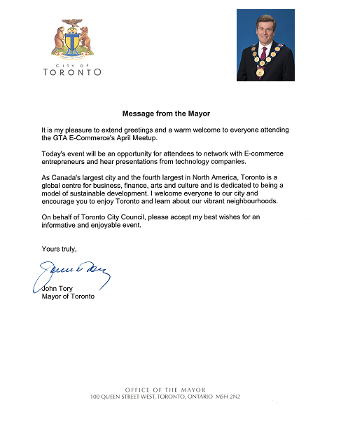 Mayor Tory Greeting Letter