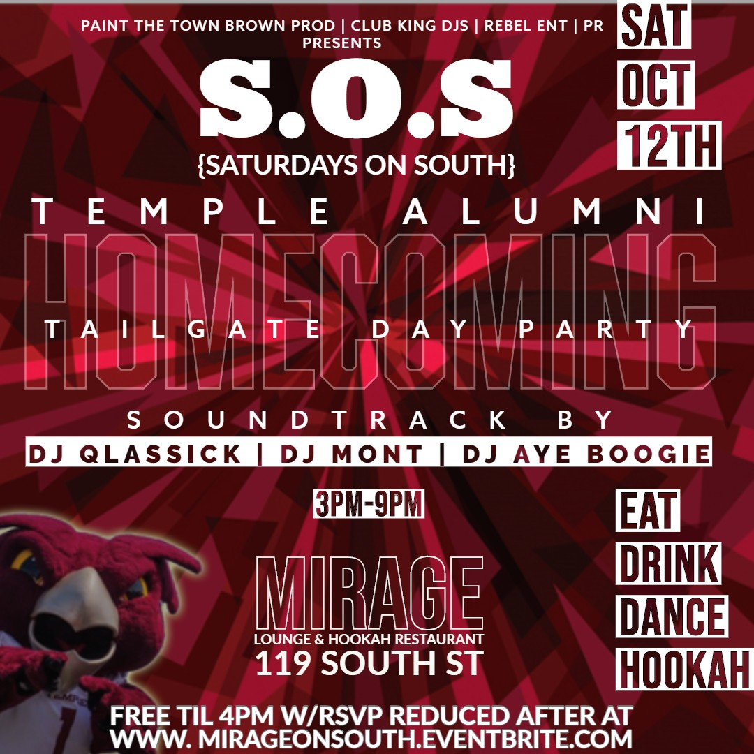 Temple Homecoming Alumni Tailgate Afterparty!!!!