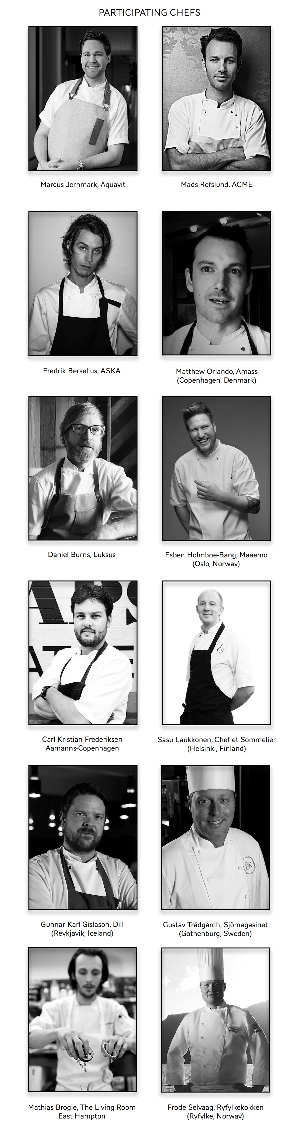 Participating Chefs Master Classes