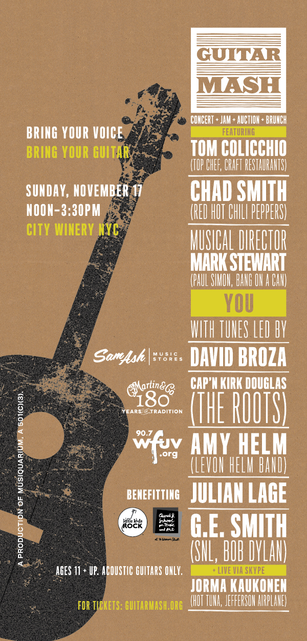 GUITAR MASH 2ND ANNUAL BENEFIT CONCERT: Featuring David Broza, Captain Kirk Douglas, Amy Helm, Julian Lage, G.E. Smith, Jorma Kaukonen... and you!