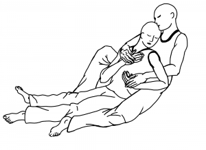 Reclining bodies, one holding the other