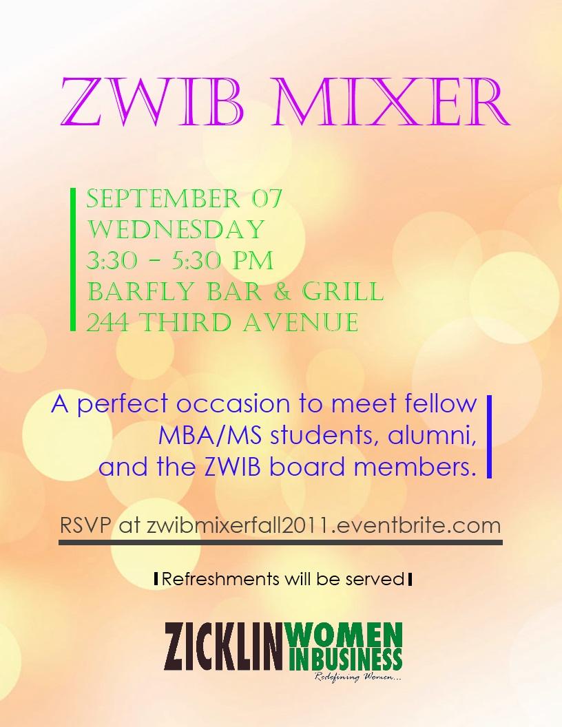 ZWIB Mixer Fall 2011 Flyer
