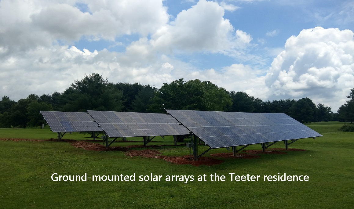Ground-mounted solar arrays at Teeter Residence in Clarksville