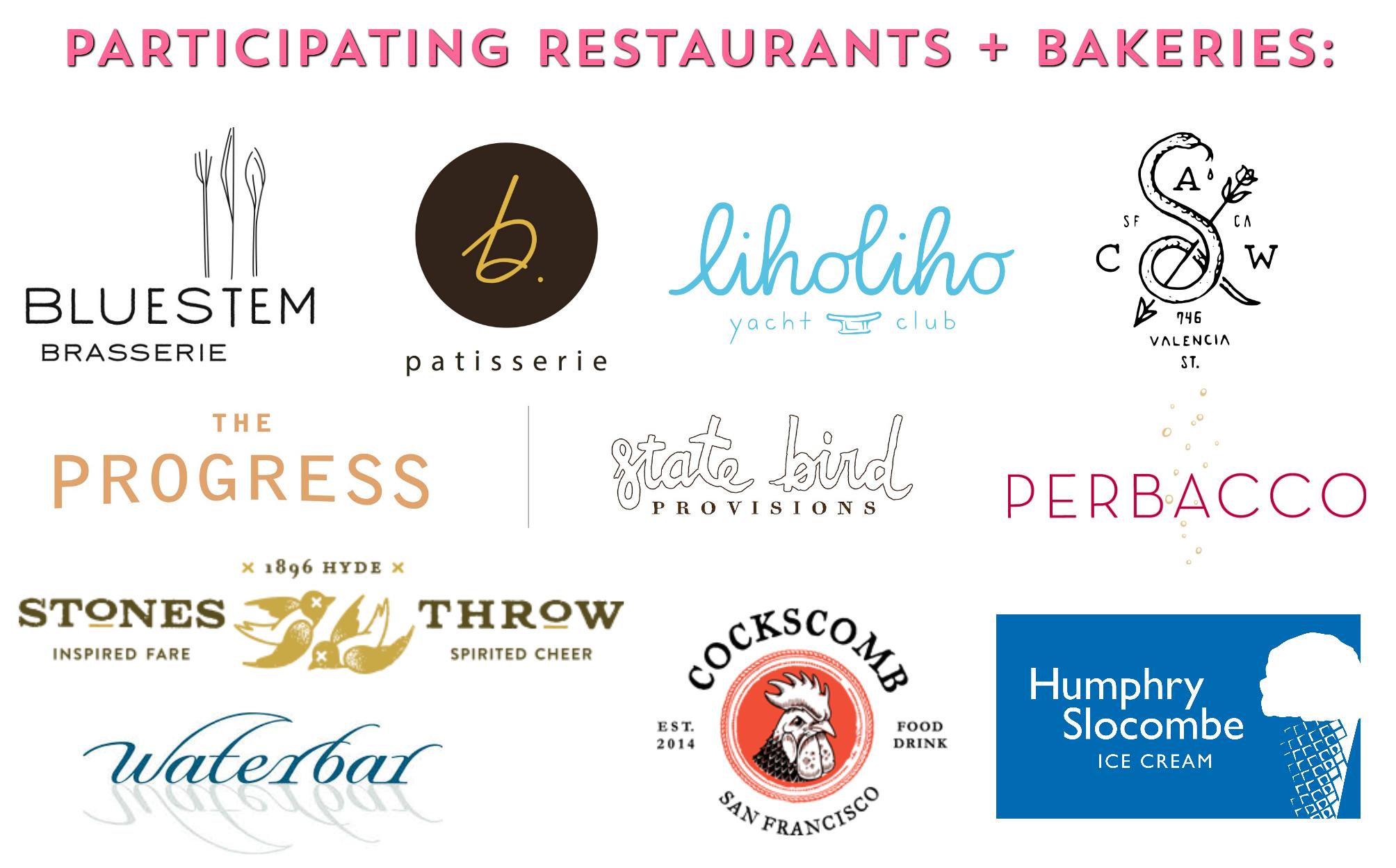 Participating restaurants + bakeries:
