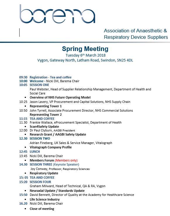 Barema Spring Meeting Agenda