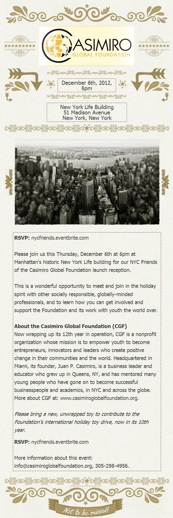 Invitation: NYC Friends of CGF Reception