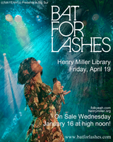 BAT FOR LASHES + Night Jewel live @ HMML - Friday, APRIL 19...