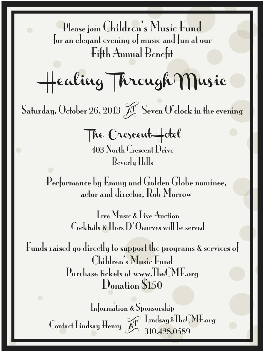 Children's Music Fund Fifth Annual Benefit Invitation