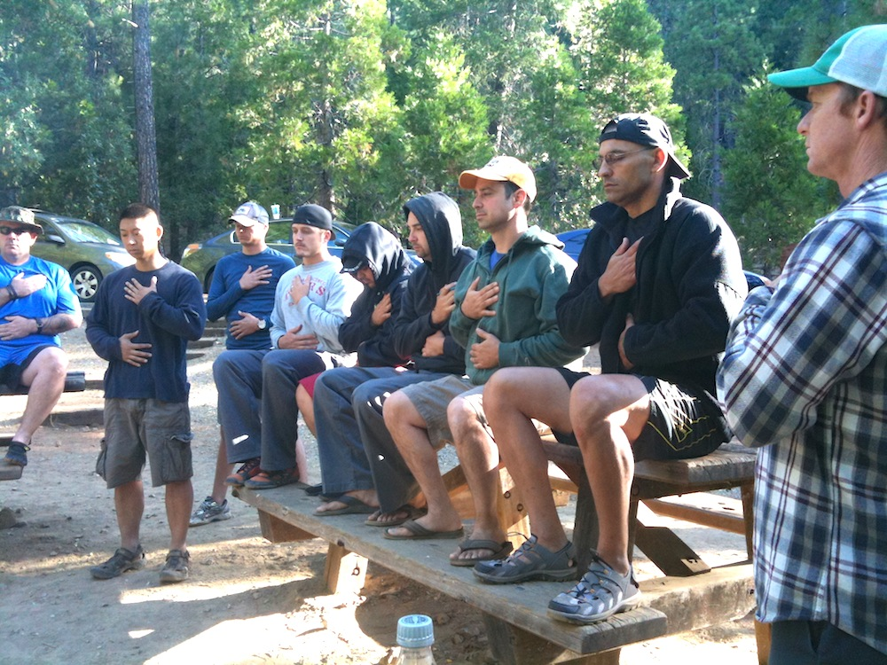 Veterans meditating on the annual river trip