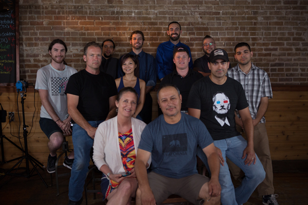 The crew on location at Dean's Downtown