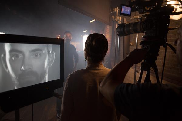 Andrew Karnavas on set with Director Lynn Birdwell