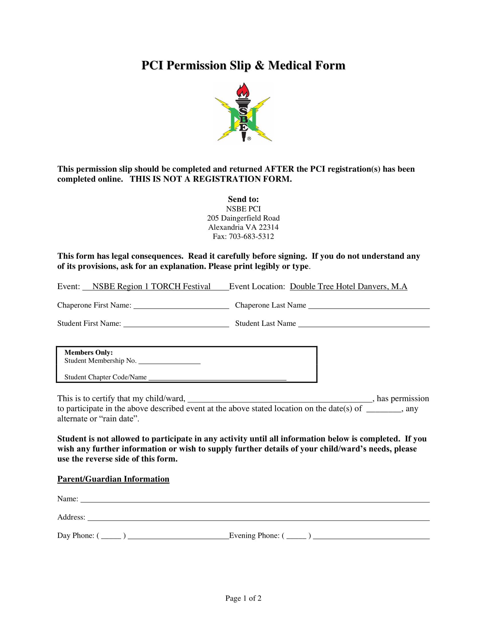 PCI Permissions Form Page 1