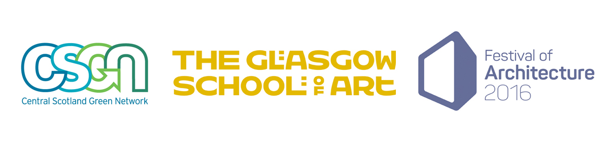 CSGN, the Glasgow School of Art and Festival of Architecture logos