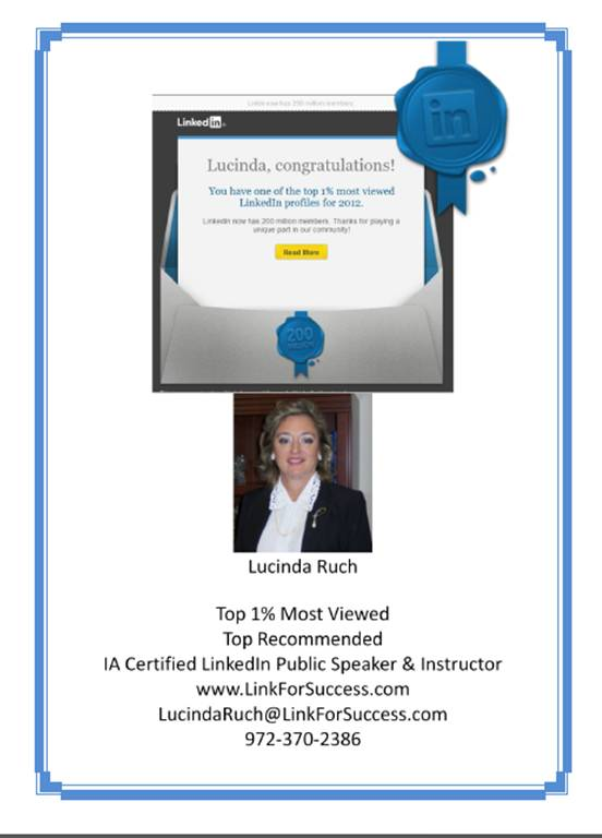 LinkedIn Top 1% Lucinda Ruch, LinkedIn Training