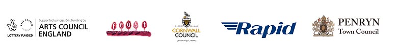 Logos for Arts Council England, FEAST, Cornwall Council, Rapid Online, and Penryn Town Council