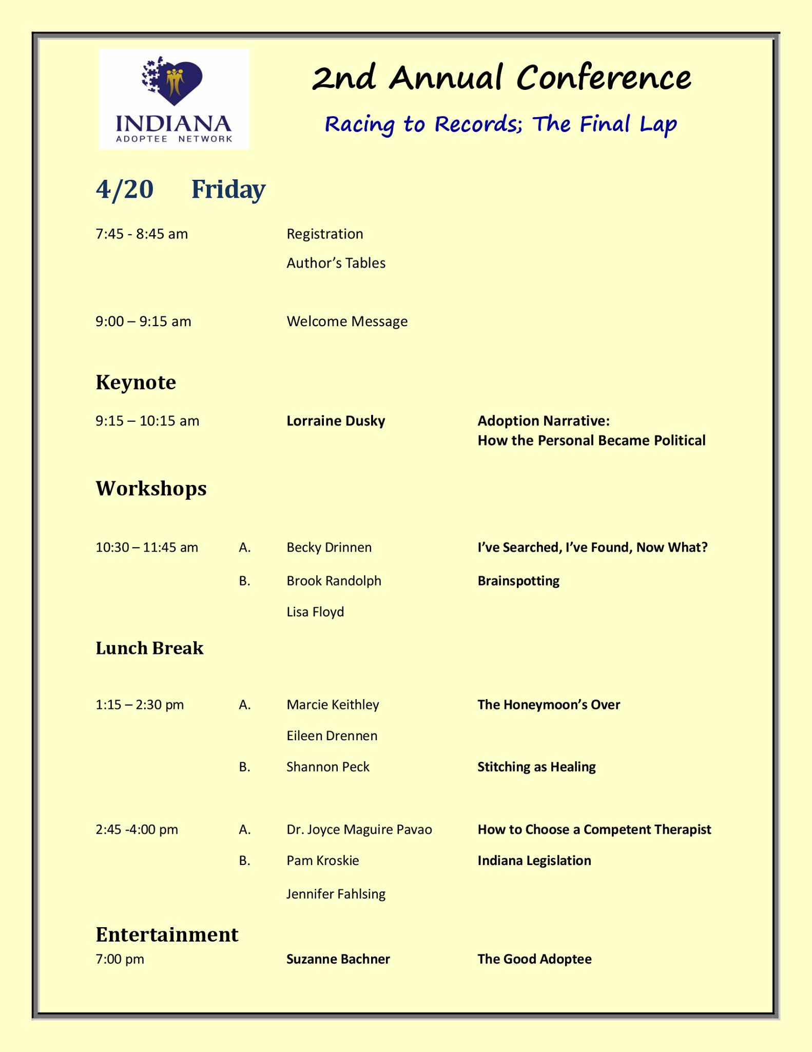 Friday Conference Schedule
