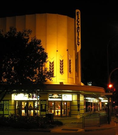 Piccadilly Cinema Adelaide facade night