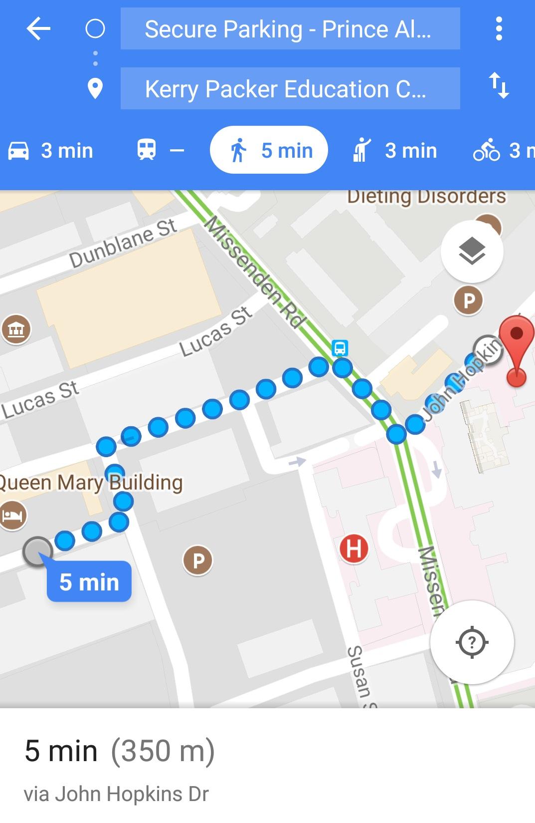 Parking walk to KPEC