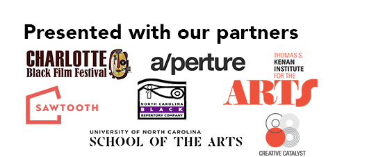 Image that says Presented with our partners The Charlotte Black Film Festival and aperture cinema using company logos.