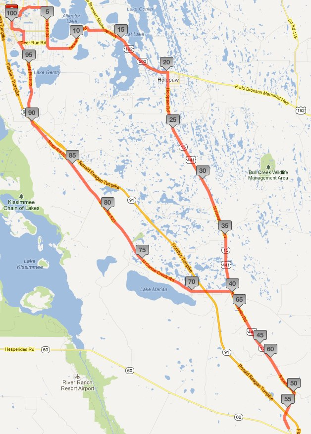 100 mile route