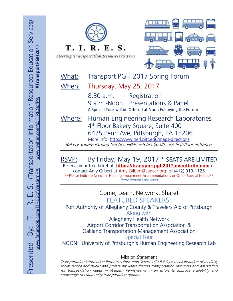 Picture of Transport PGH 2017 Spring Forum. Plain Text version is below.