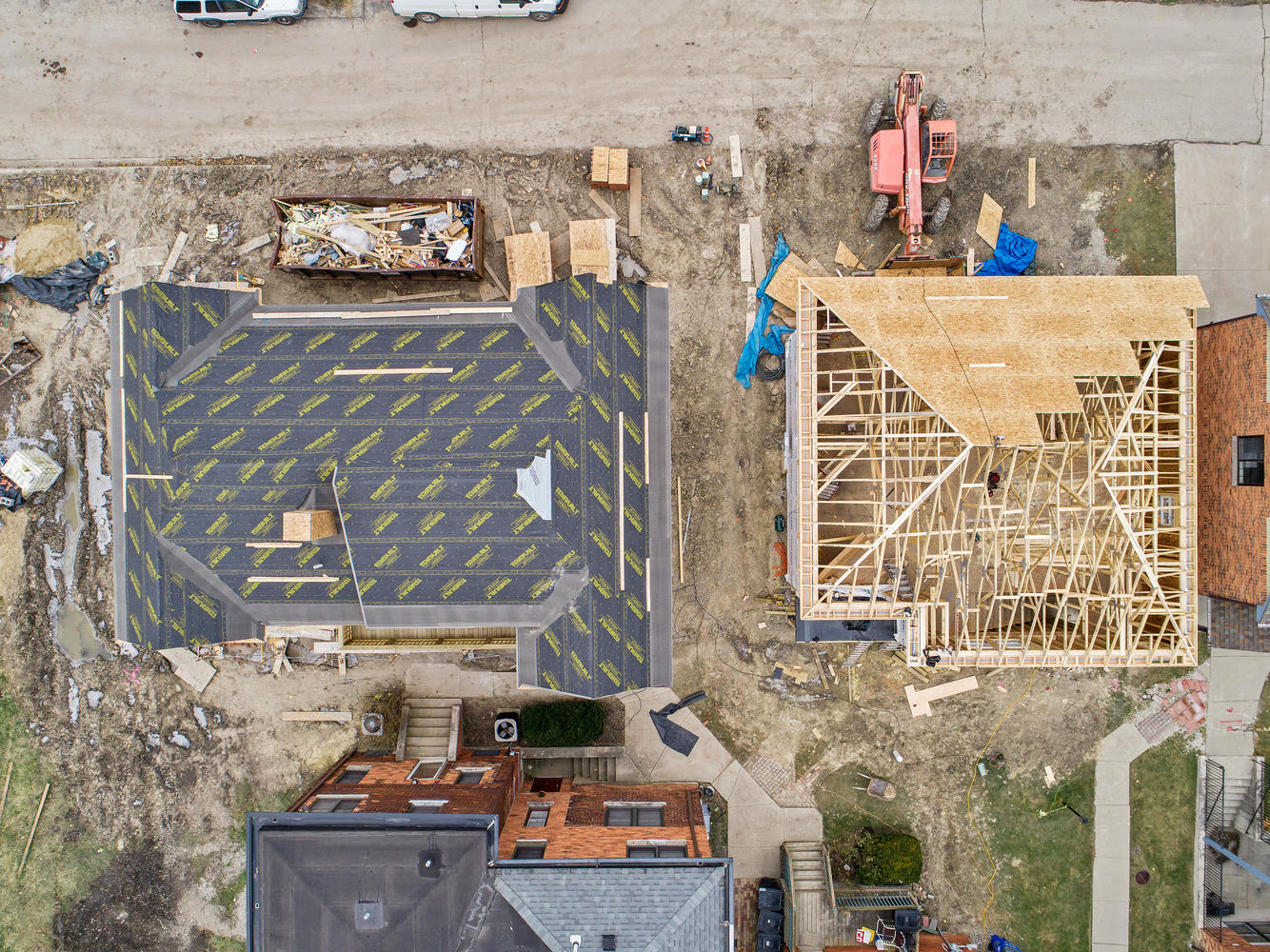Overhead view of the new construction in Detroit's East Ferry Historic District