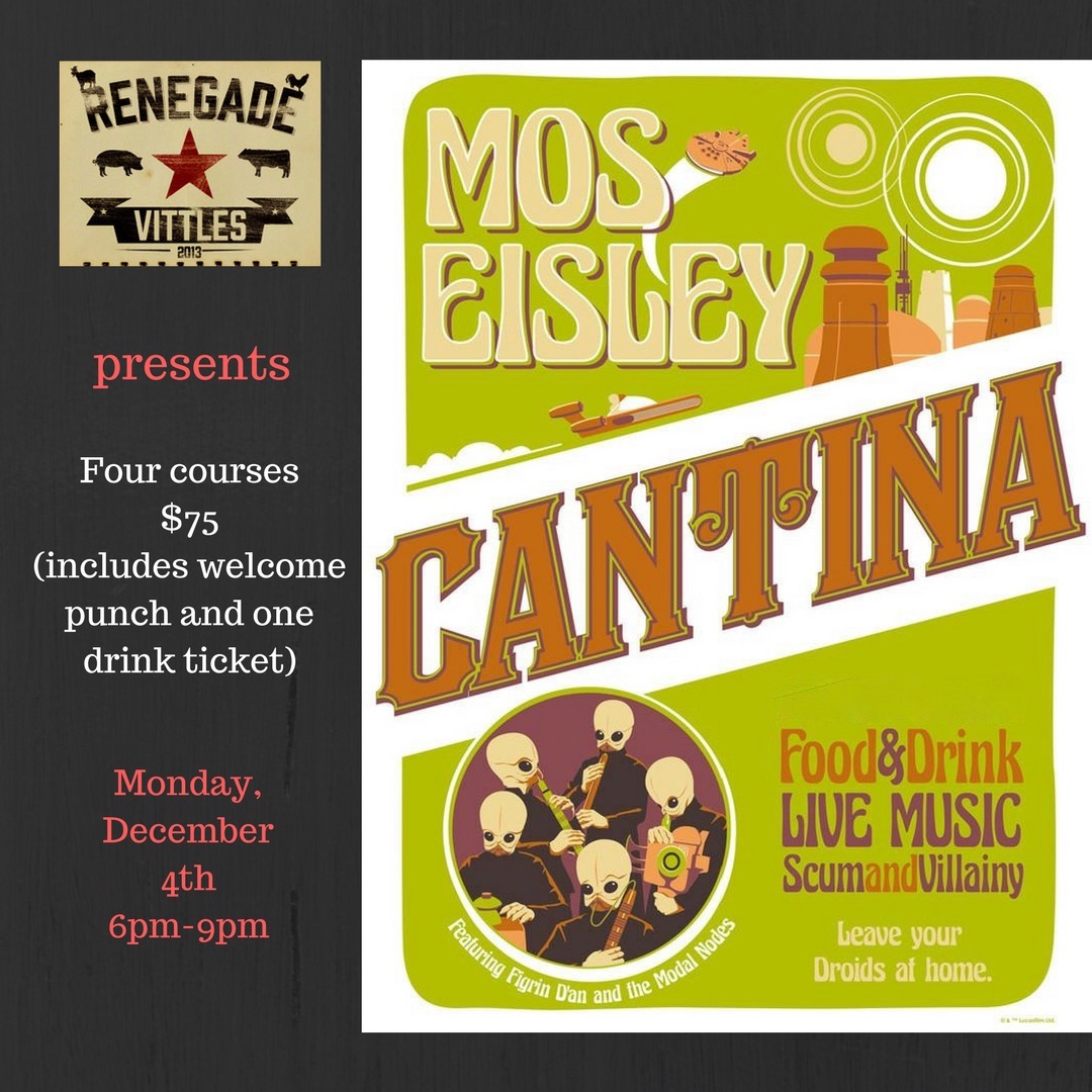 Star wars 39 mos eisley cantina 39 pop up tickets mon dec 4 for The menu moss eisley canape