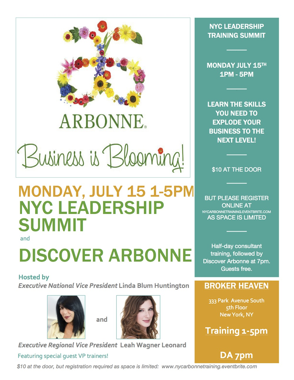 NYC Arbonne Leadership Summit Flyer