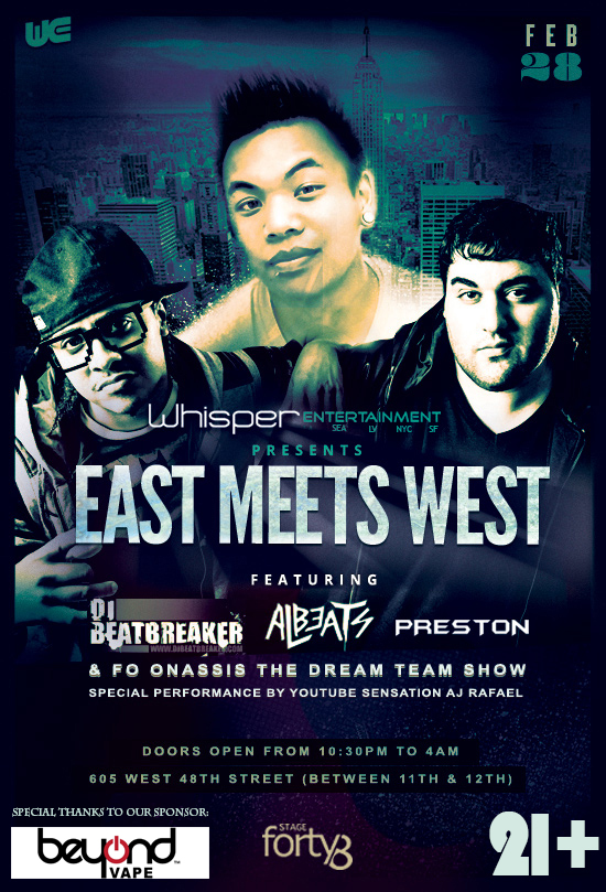 Join WhisperNYC @ Stage48 2/28 for a live performance from AJ Rafael and DJ Beatbreaker will be spinning!