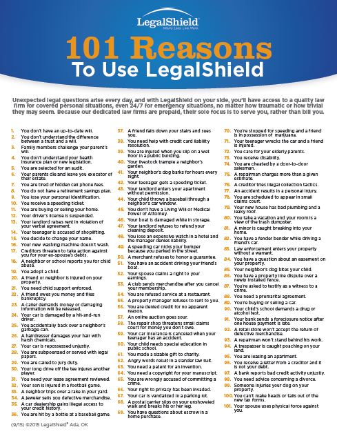101 Reasons To Use LegalShield