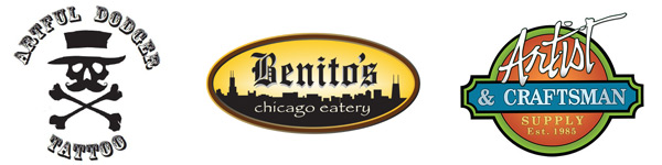 Sponsorship Logos for Mythos Art Club; Artful Dodger Tattoo, Benito's Chicago Eatery and Artist & Craftsman Supplies