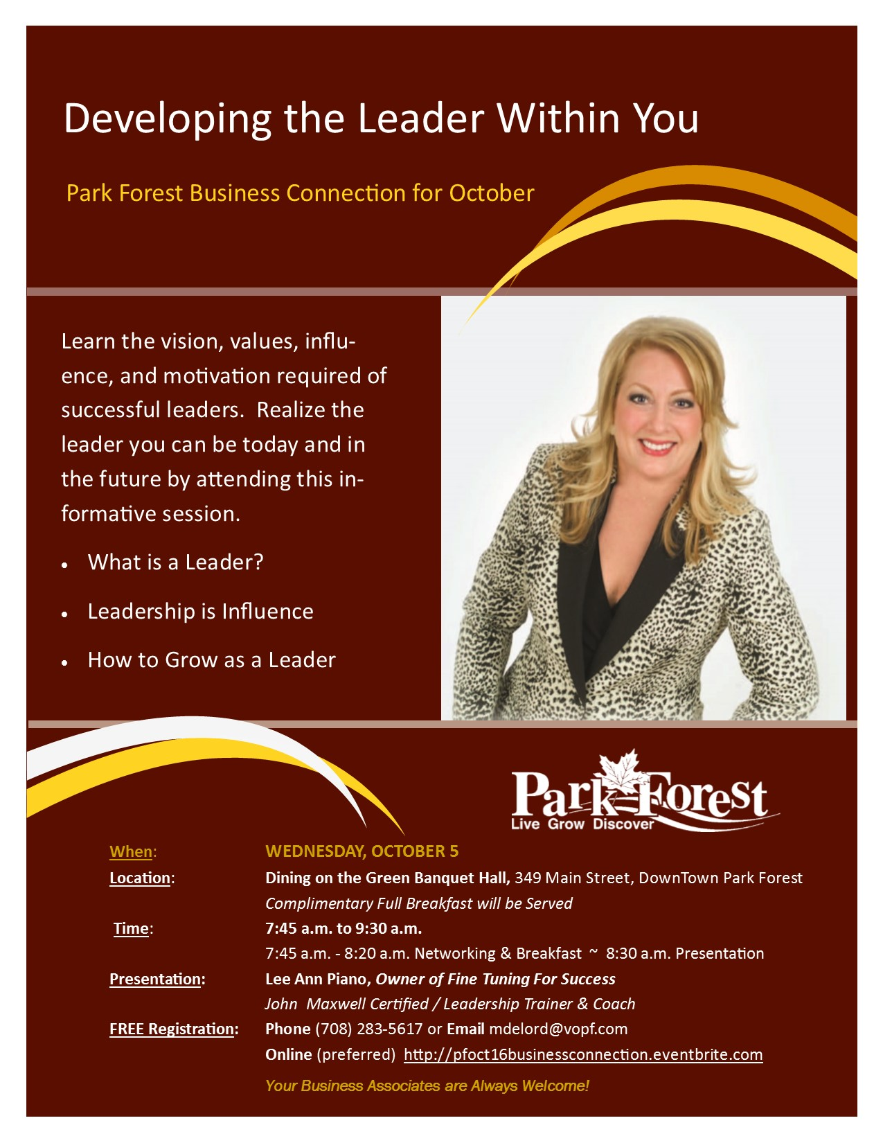 Park Forest Business Connection on Wednesday, October 5 'Developing the Leader Within You'