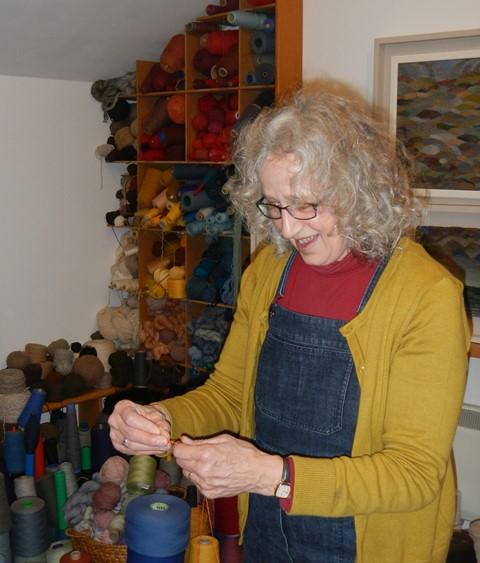 Louise Oppenheimer in her studio