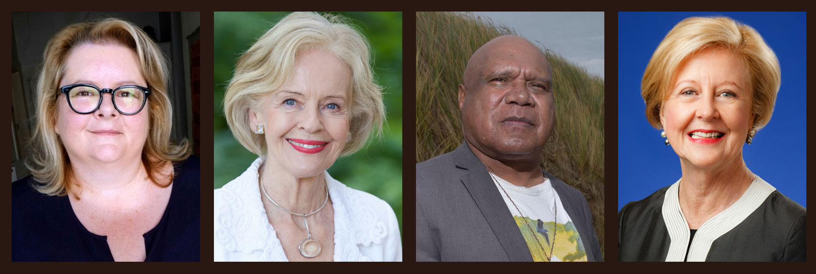 Composite of photos - Magda Szubanski, Dame Quentin Bryce, Archie Roach, Commission President Professor Gillian Triggs