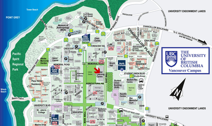 UBC map: red arrow points at conference venue