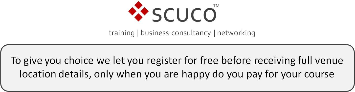 To give you choice we let you register for free before receiving full venue location details, only when you are happy do you pay for your course
