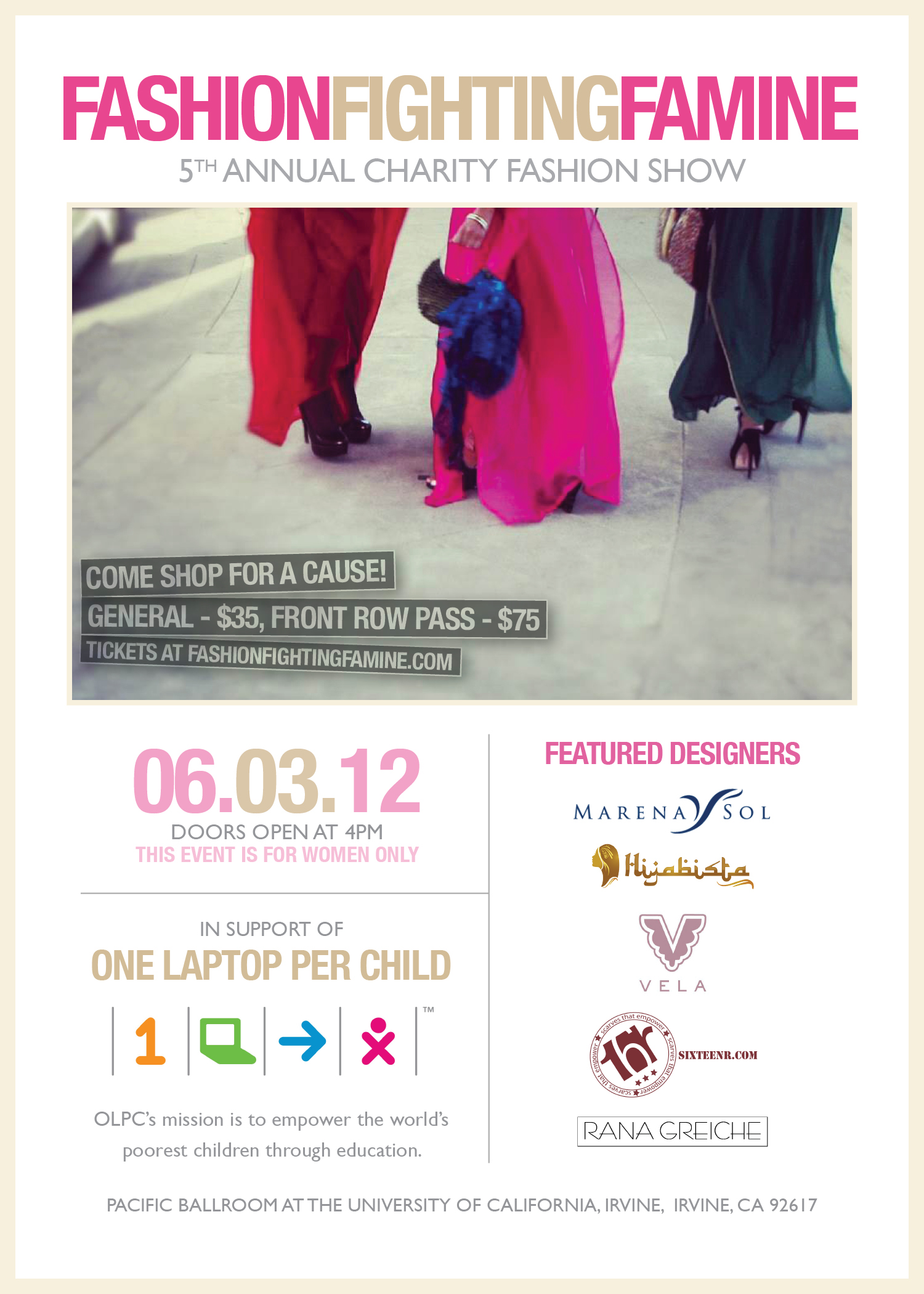 Flyer for the Fashion Fighting Famine 2012 Fashion Show