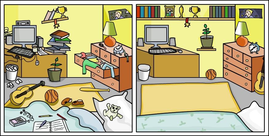 Girl Vs Boy Room Cartoon