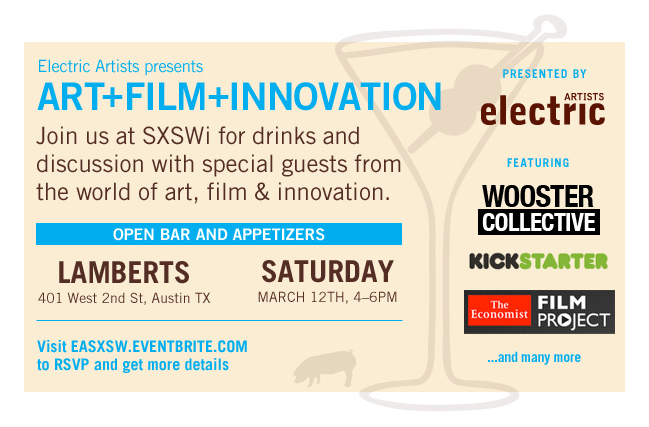 Join Electric Artists at SXSWi for drinks and discussion with special guests from the world of art, film & innovation.