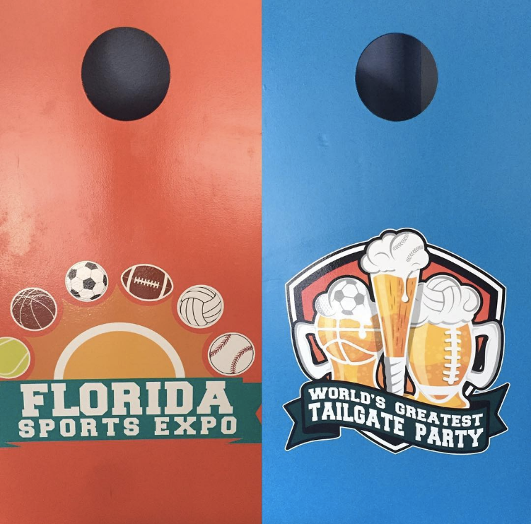 A shot of the World's Greatest Tailgate Party and Florida Sports Expo Corn Hole Set