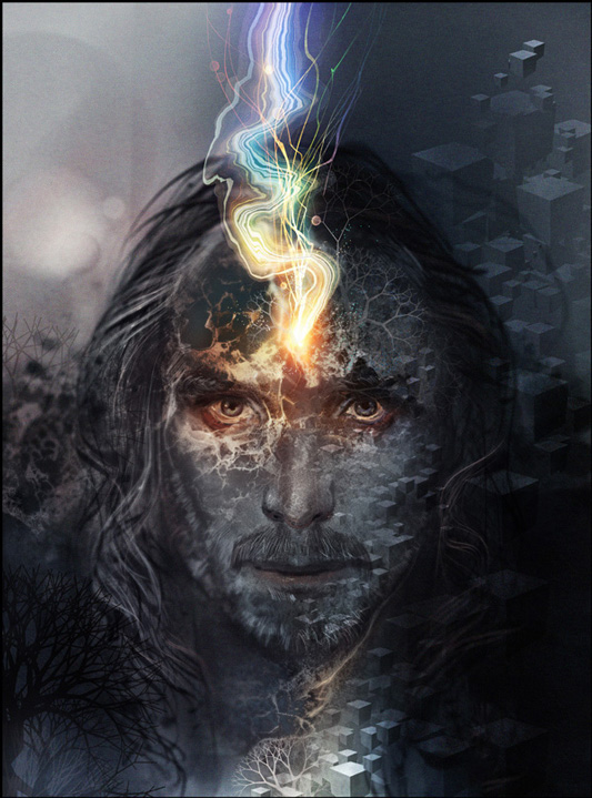 A portrait of Android Jones, framed close to his face, it is illustrated and overlaid with different patterns, geometric shapes, and elements of nature in grayscale. Android Jones has long hair and facial hair. There is a pastel rainbow colored electric current winding from his forhead to the top of the image frame. His eyes are confronting the viewer.