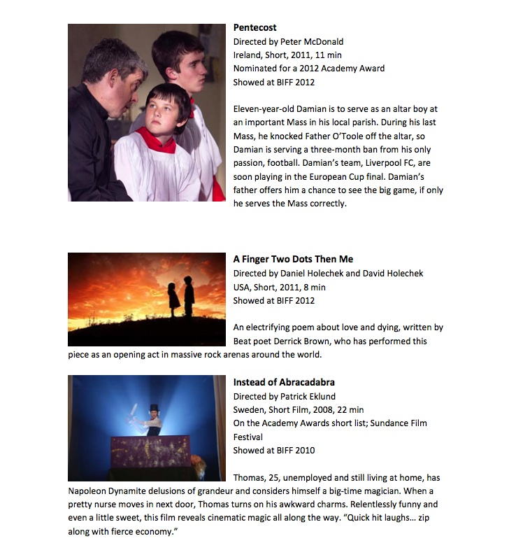 Page two of a document about the Best of BIFF Shorts, with two images and descriptions of three short comedy films from the past ten years of BIFF