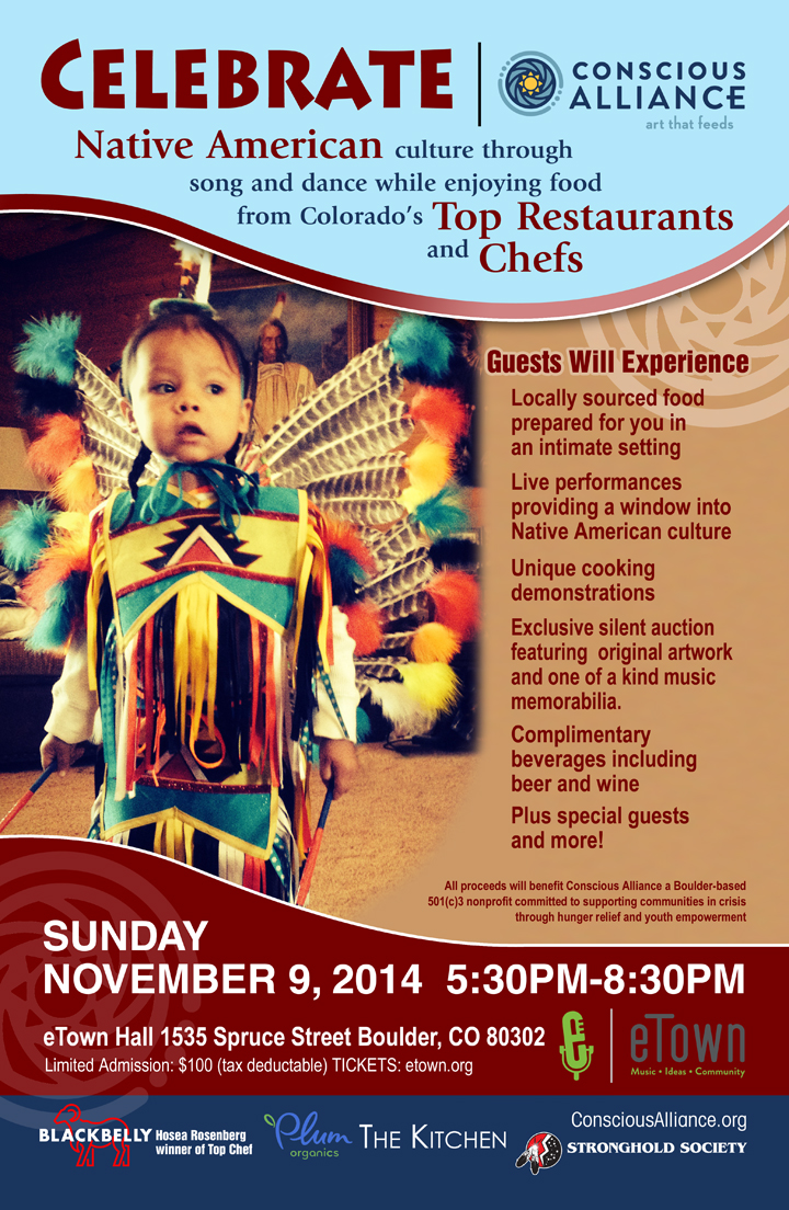flyer for the conscious alliance celebration of native american culture fundraiser